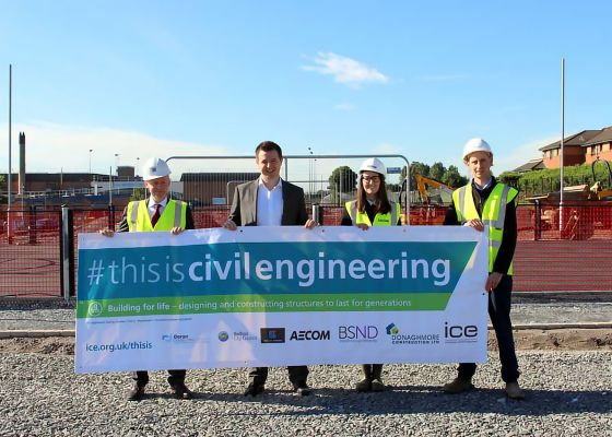 #thisiscivilengineering – banner unveiled at site of the future Whiterock Community Corridor